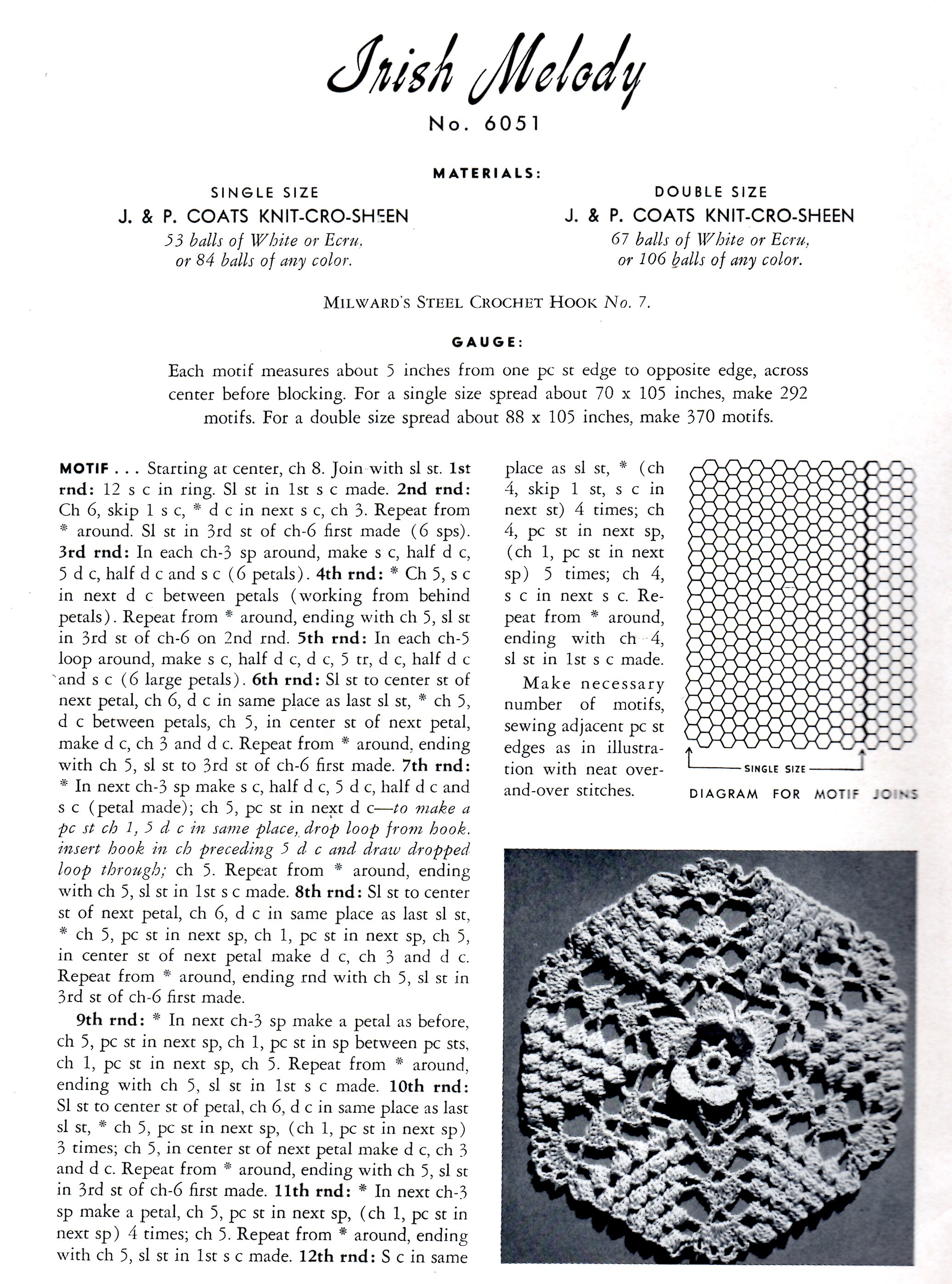 Jp Coats Archives Vintage Crafts And More Crochet Pattern Diagram Irish Melody Bedspread