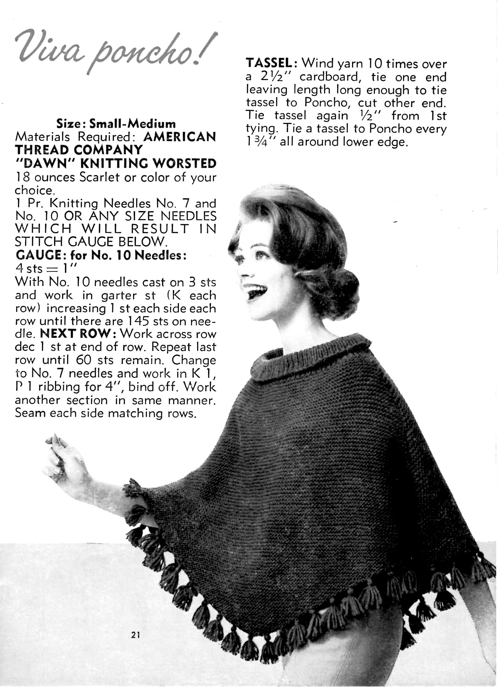 Free Beginner Knit Poncho Pattern Fun And Easy Vintage Knitting