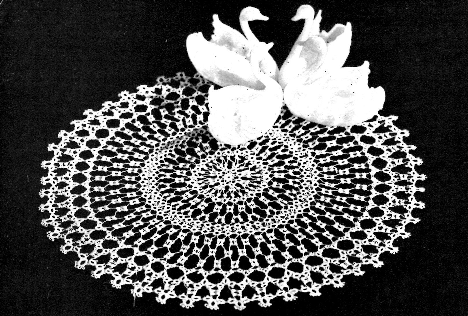 Vintage Tatting Pattern Swan Round Lace Doily