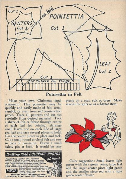 Felt Poinsettia Pin Pattern And Instructions Vintage